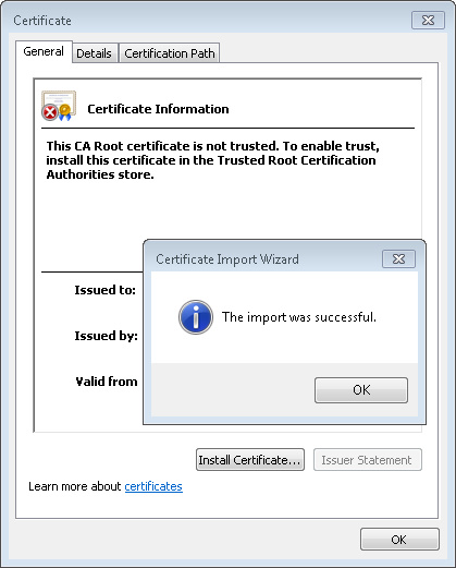 Certificate Import Wizard Successful